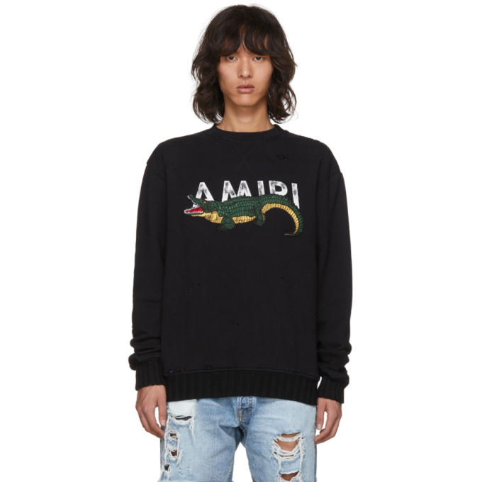 Image of Amiri Black Alligator Logo Sweatshirt