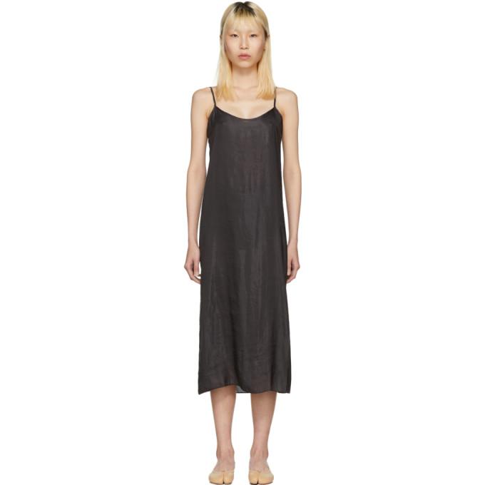 Image of Moderne Black Portrait Long Slip Dress