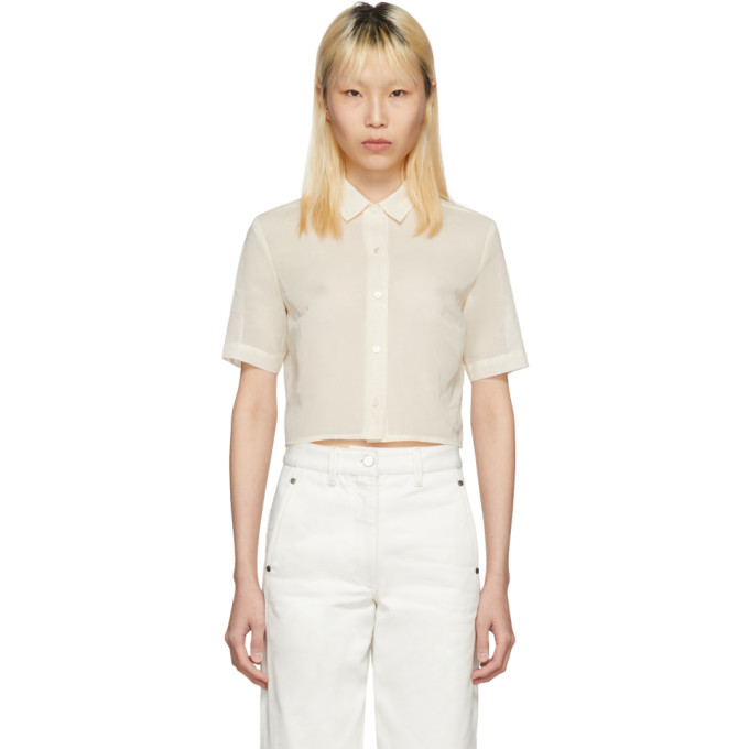 Image of Moderne Off-White Portrait Cropped Shirt