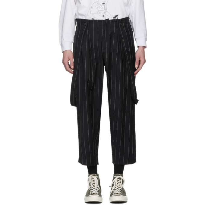 Image of Enfants Riches Déprimés Black Wool Carrot Leg Suspender Trousers
