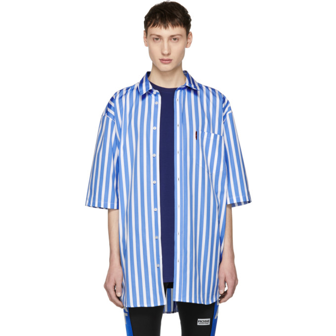 Martine Rose Blue & White Short Sleeve Striped Oversized Shirt