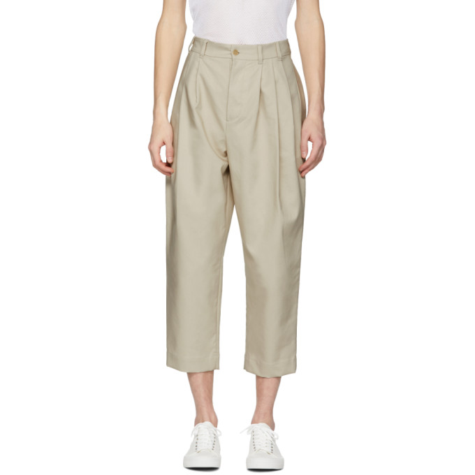 Image of Hed Mayner Beige Four Pleat Trousers