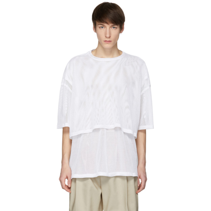 Image of Hed Mayner White Double Mesh T-Shirt