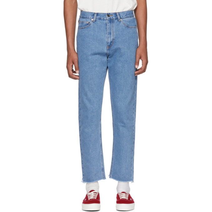 Image of Second/Layer Blue Raw Hem Jeans