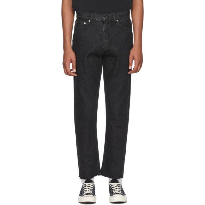 Image of Second/Layer Black Raw Hem Jeans