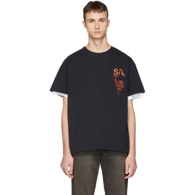 Image of Second/Layer Black Shattered Logo T-Shirt