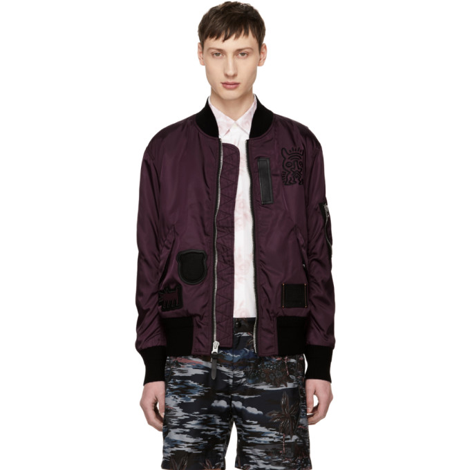 Image of Coach 1941 Burgundy Keith Haring Edition MA-1 Bomber Jacket