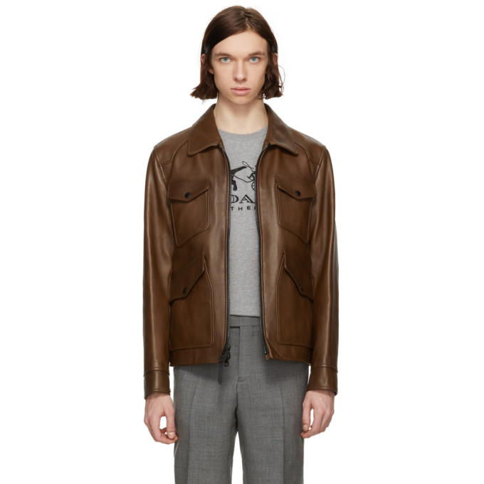 Image of Coach 1941 Brown Burnished Leather Jacket