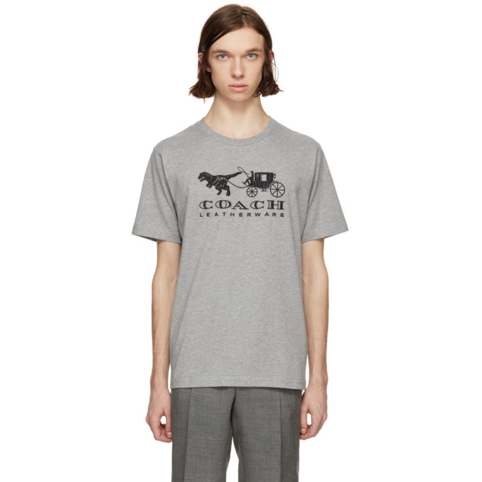 Coach 1941 Grey Embroidered Rexy & Carriage T-Shirt