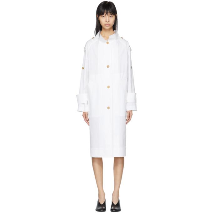 Kuho White Funis Oversized Trench Coat