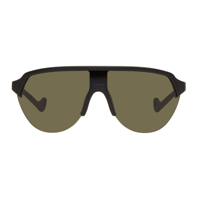Image of District Vision Black & Green Nagata Speed Blade Sunglasses