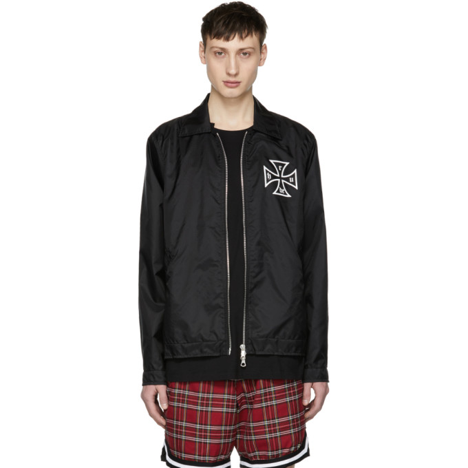 Image of Rhude Black Nylon Trasher Coach Jacket