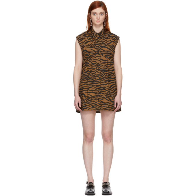 Image of Ashley Williams Brown & Black Tiger Ray Dress