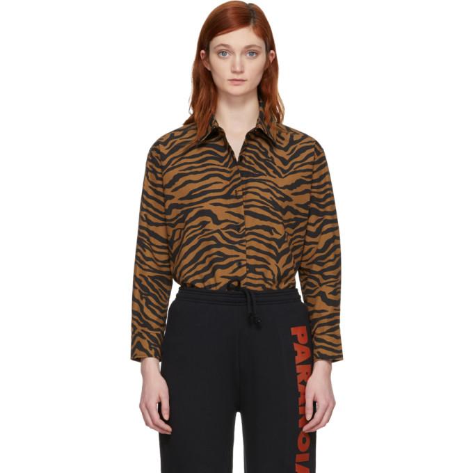 Image of Ashley Williams Brown & Black Tiger Reba Shirt