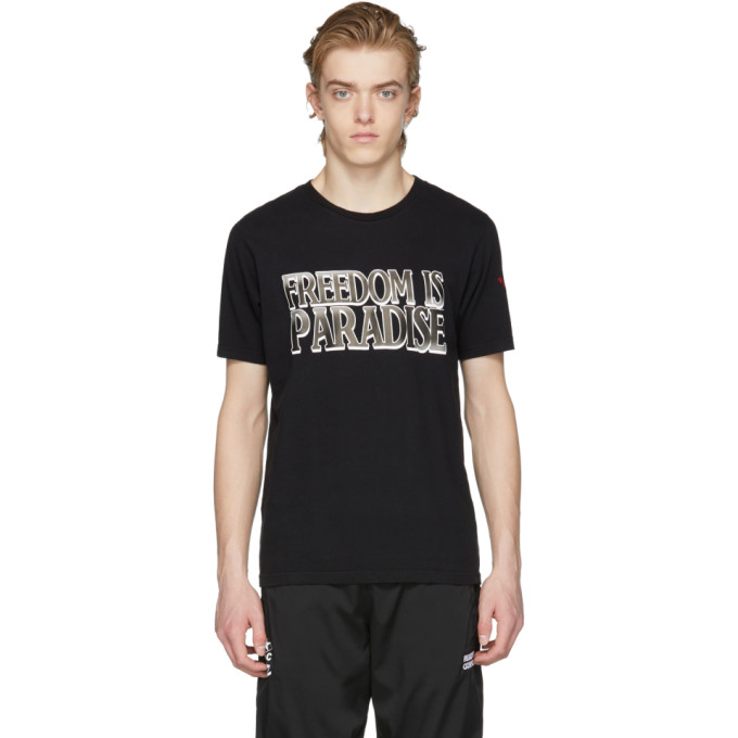 Image of Resort Corps SSENSE Exclusive Black 'Freedom Is Paradise' T-Shirt