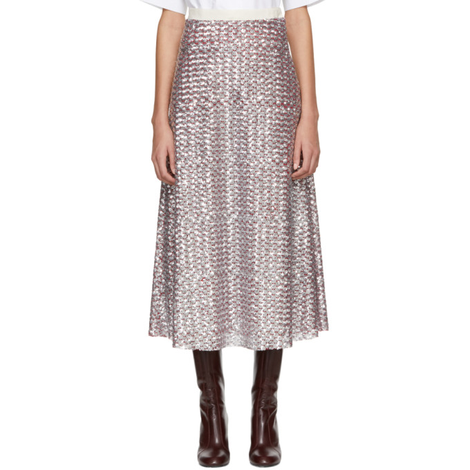 Image of Molly Goddard Silver & Red July Skirt