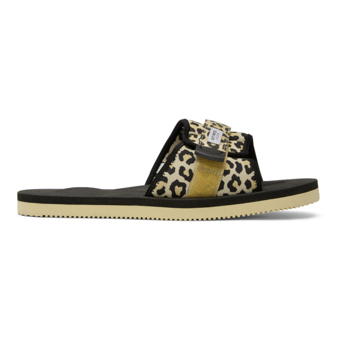 Image of Wacko Maria Beige Suicoke Edition Leopard Padri Sandals