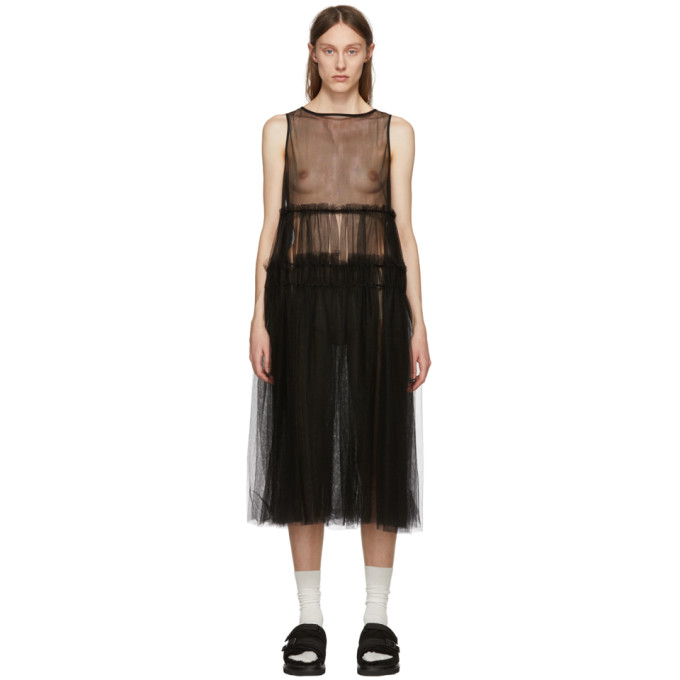 Image of Chika Kisada Black Sleeveless Tulle Dress