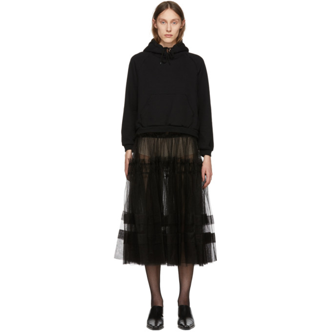Image of Chika Kisada Black Tulle Hoodie Dress