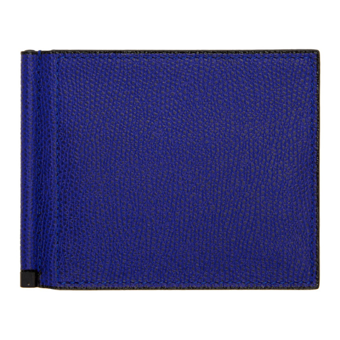 Image of Valextra Blue Simple Grip Spring Wallet