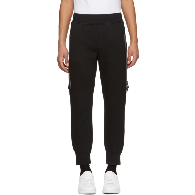 Image of BLACKBARRETT by Neil Barrett Black Reflective Elongated Zip Lounge Pants