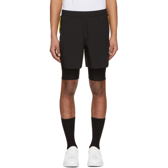 Image of BLACKBARRETT by Neil Barrett Black & Yellow Stripe Hybrid Shorts