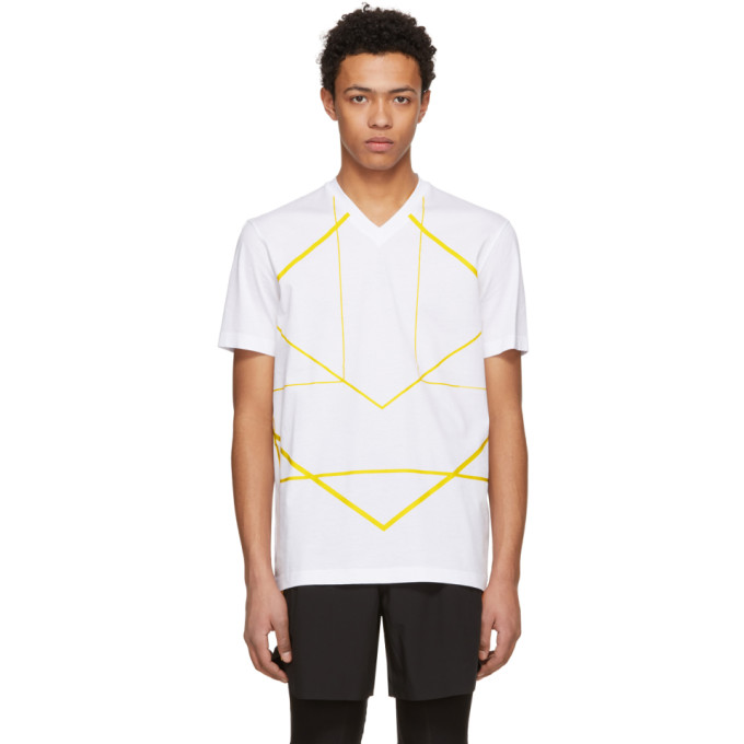 Image of BLACKBARRETT by Neil Barrett White & Yellow Symmetric Lines V-Neck T-Shirt