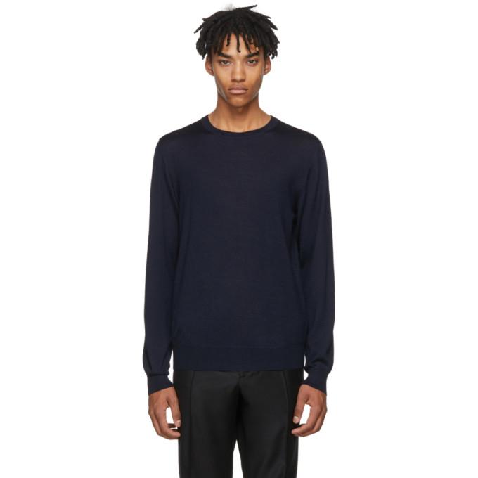 Image of Brioni Navy Crewneck Sweater