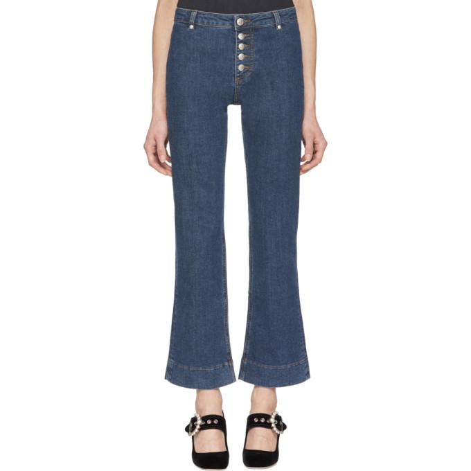 Alexachung Blue Kick Flare Button Jeans