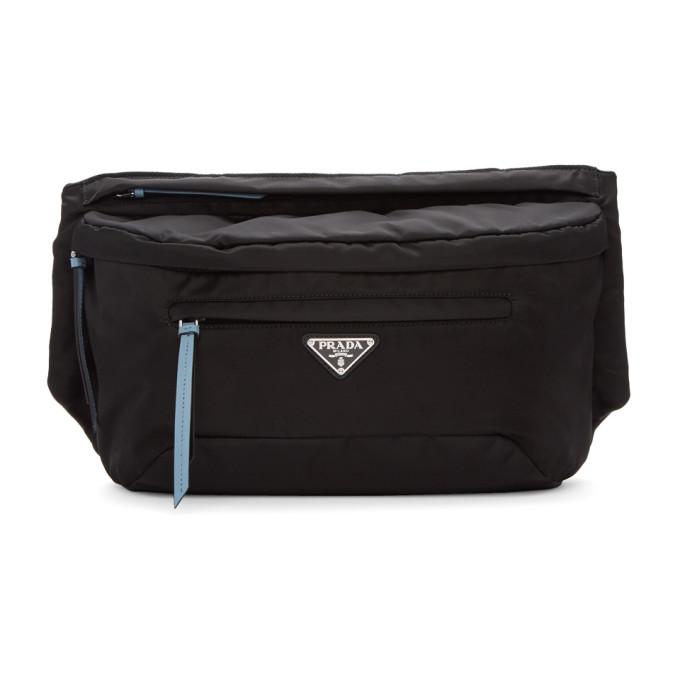 Prada ブラック & ブルー スタッド ストラップ ベルト バッグ