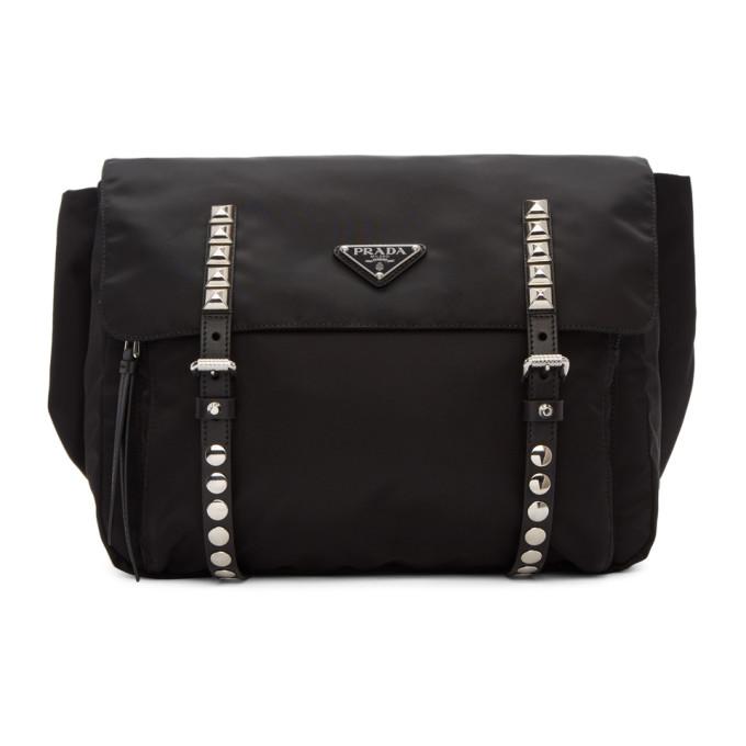 Prada ブラック スタッド ストラップ ベルト バッグ