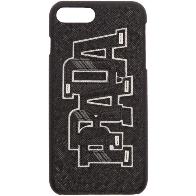 Prada ブラック  サフィアーノ ロゴ iPhone 7 Plus ケース