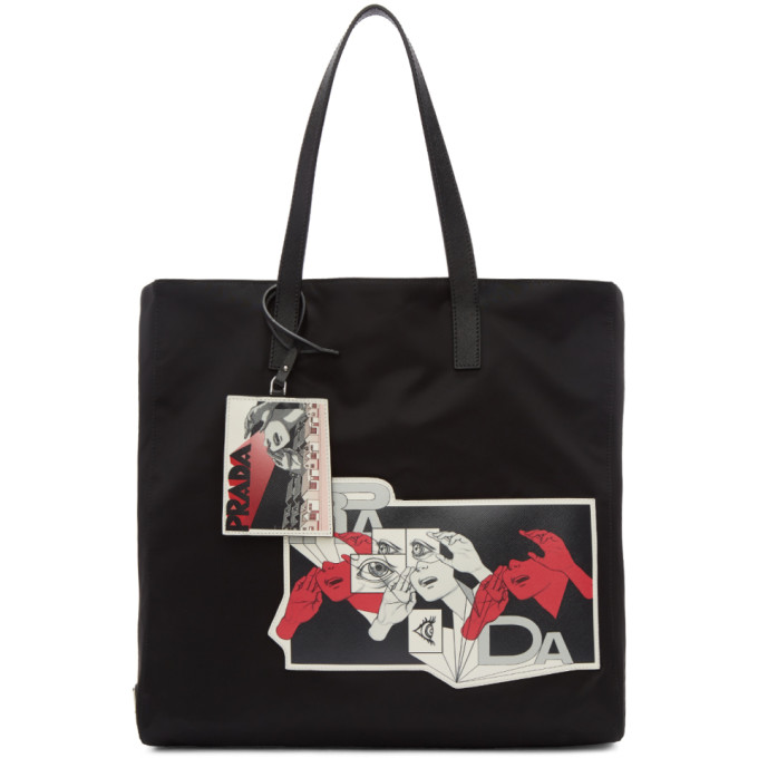 Prada Black Nylon Comic Patch Tote