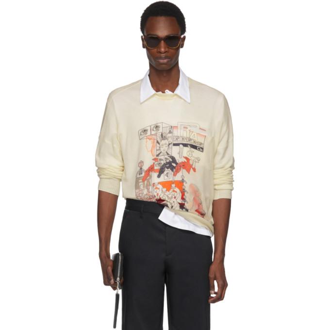 Prada Off-White Cashmere Graphic Sweater