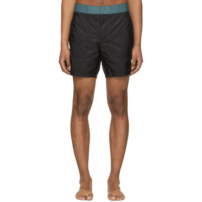 Image of Prada Black & Blue Nylon Swim Shorts