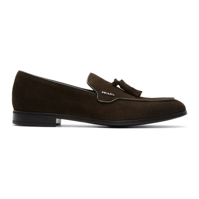 Prada Brown Suede Tassel Loafers