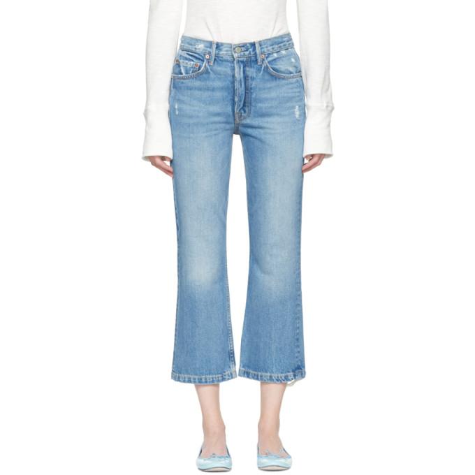 Grlfrnd Blue Linda Pop Crop Jeans