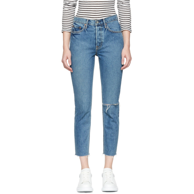Grlfrnd Blue Karolina Knee Rip Jeans