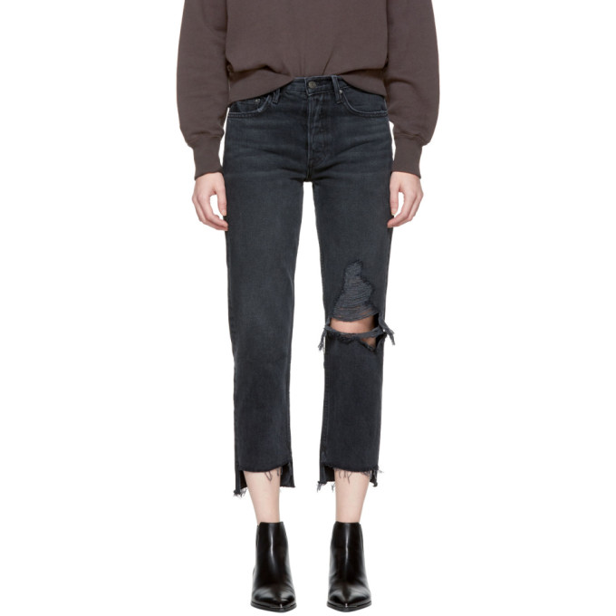 Grlfrnd Black Helena Crop Knee Rip Jeans