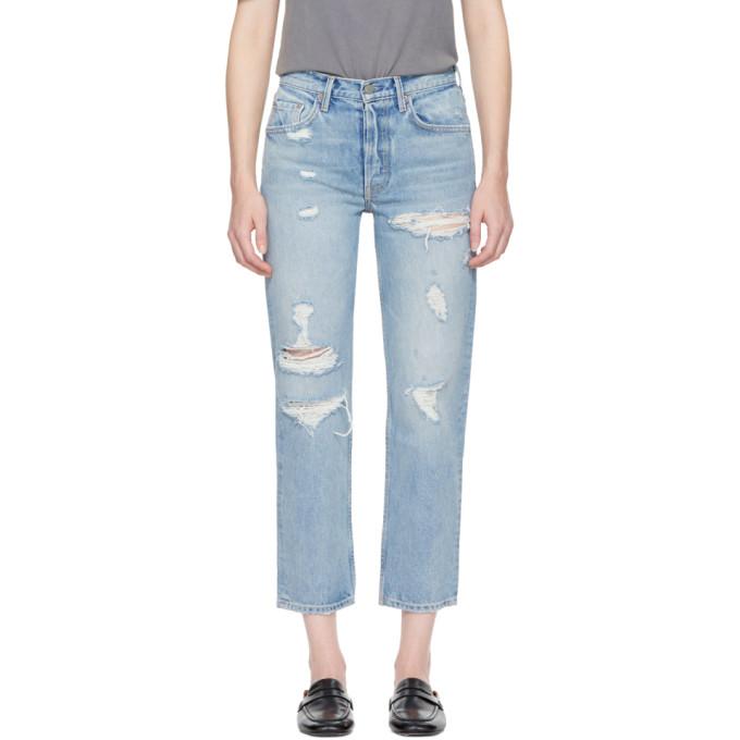 Grlfrnd Blue Helena Straight Crop Jeans