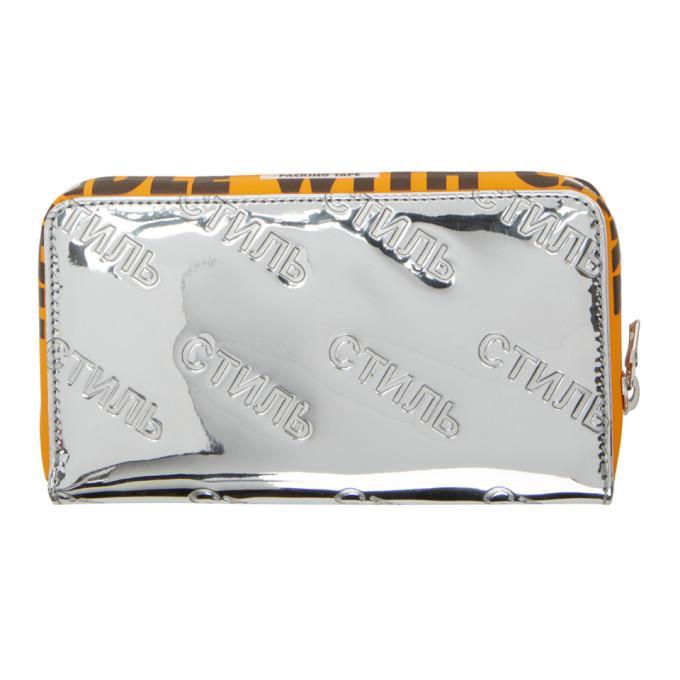 Heron Preston Portefeuille à glissière argenté 'Style' Handle