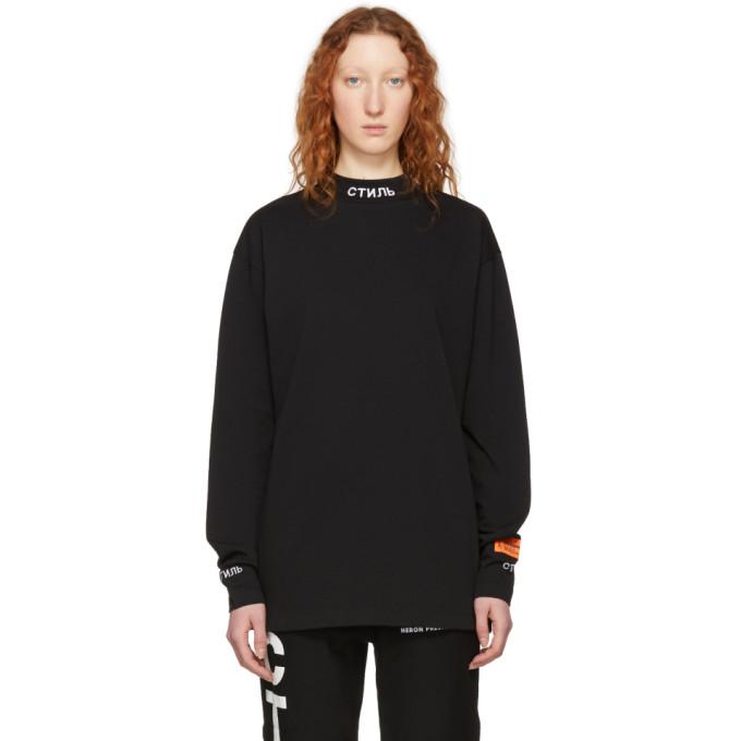 Image of Heron Preston Black Long Sleeve 'Style' T-Shirt