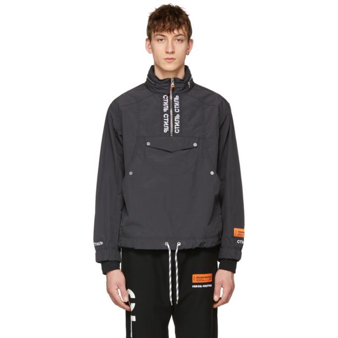 Heron Preston Black Style Turtleneck Windbreaker Jacket