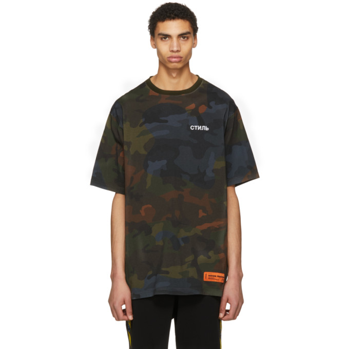 Heron Preston Green Camo Style T-Shirt