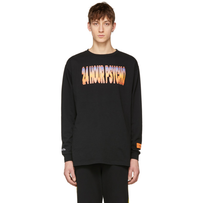 Heron Preston Black Long Sleeve 24 Hour Psycho T-Shirt