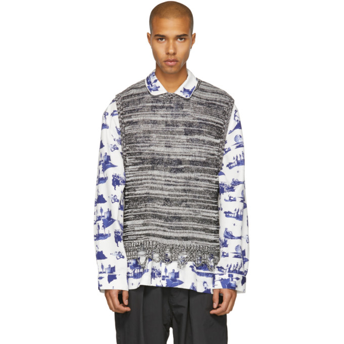 Image of Name. Black & White Melange Knit Vest
