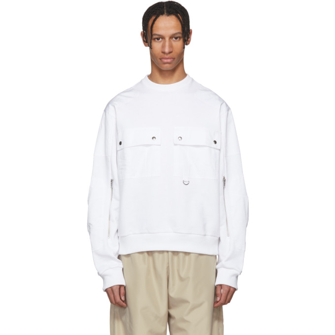 Image of GmbH White Ryane Pocket Sweater