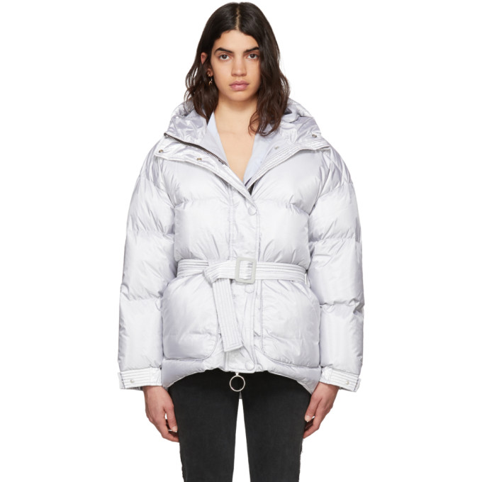 Image of Ienki Ienki Silver Michlin Belted Down Puffer Jacket