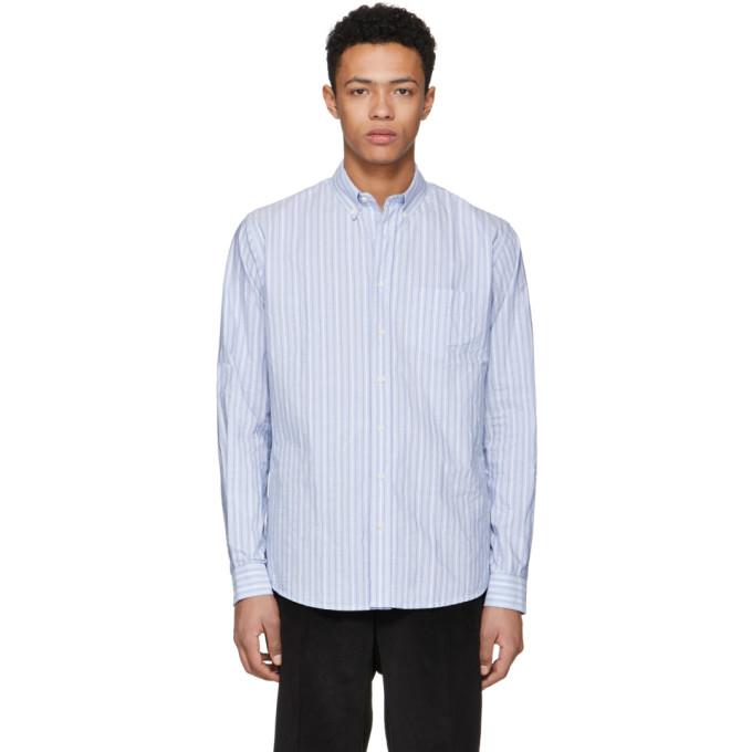 Image of Schnayderman's Blue Barre Stripe Leisure Shirt