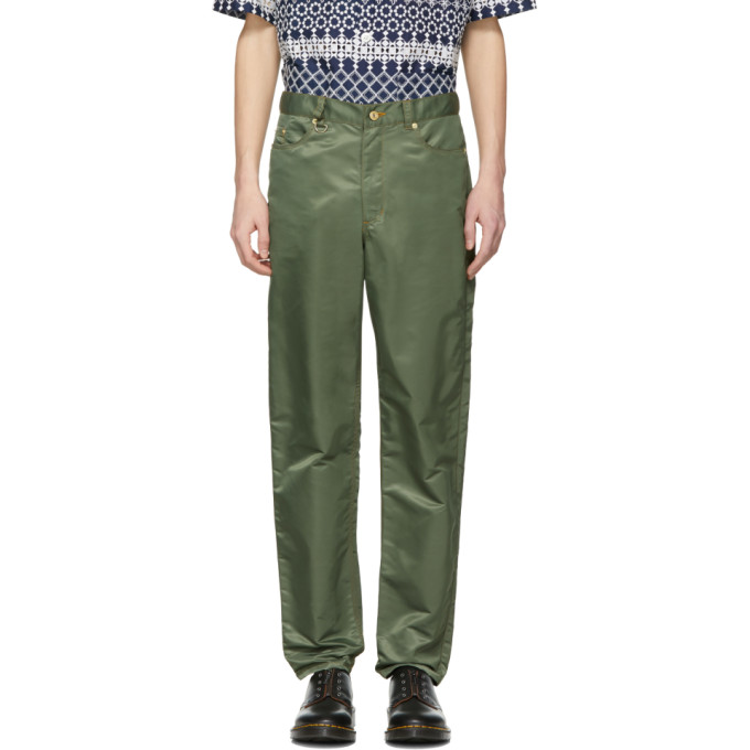 Image of Landlord Green Nylon Trousers